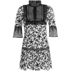 Self-Portrait Trumpet Sleeve Dropped Waist Mini Dress ($340) ❤ liked on Polyvore featuring dresses, multicolor, flutter-sleeve dress, ruffle sleeve dress, flounce dress, ruffle dress and flutter sleeve dress