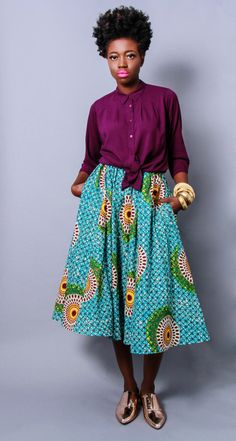 The Shavon -African Print 100% Holland Wax Cotton Midi Skirt