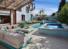 perfect private lap pool and hot tub with lawn and outside patio seating.  Add MORE South facing sun though.  from House of Turquoise