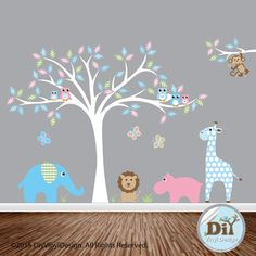 Blue Green and Pink Vinyl Tree Decal - Owl Elephant Giraffe Lion Tree Branch - Safari Nursery Theme - Nursery Vinyl Wall Decal - 6101517