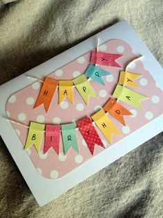 Girl Bunting Birthday Card - by BellaJStyle on madeit