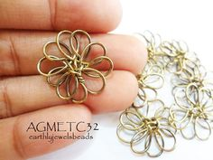 6 pcs Antique Gold Floral Wire Wrapped Metal by EarthlyJewels, $2.80