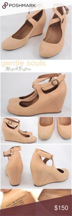 Gentle Souls Funtastic Blush Leather Wedge Sandals Absolutely adorable shoes, beautiful color- something between Blush pink and peach. Amazing durable quality. Soft leather insole and exterior so criss cross ankle straps. Bottom sole is synthetic. Very comfortable. Great condition with minor wear, see pictures. Trade value $200 Gentle Souls Shoes Wedges