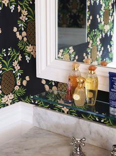 Pattern Play Pineapples | Pineapple Wallpaper in Bathroom  | KK Bright Living Blog