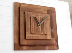 Praf XI pyramid wall wooden clock, silent movement, wall decor, square, minimal, cubic clock, walnut stain, kitchen, living room, bedroom