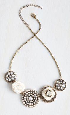 Rosette Quintet Necklace in White