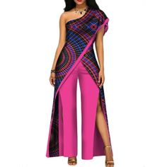 2018 New Autumn African Pant Set For Women Sexy Off Shoulder Jumpsuit Dashiki Clothing Batik Wax African Fashion Ankara, Latest African Fashion Dresses, African Print Fashion, Africa Fashion, African Attire, African Dress, African Clothes, African Traditional Dresses, Traditional Outfits