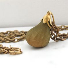Sweetest Vintage Lucite Fig Fruit and Solid Brass Vintage Chain