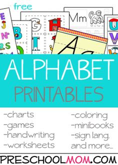 Alphabet Printables Preschool is a great time to learn all about the alphabet! Our printables ABC's in a a classroom quilt, alphabet charts, handwriting minibooks and more! Free Preschool Printables at Preschool Mom