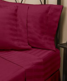 This Burgundy Woven Dobby Stripe Sheet Set is perfect! #zulilyfinds