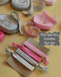 Turn your favorite patterned elastic into creaseless (and ouchless) hair ties. Turn your favorite patterned elastic into creaseless (and ouchless) hair ties. Do It Yourself Design, Do It Yourself Inspiration, Do It Yourself Fashion, Style Inspiration, Cute Crafts, Crafts To Do, Teen Crafts, Creative Crafts, Diy Hairstyles