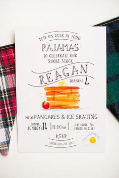 Pancake birthday party invite