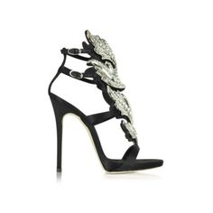 Giuseppe Zanotti Shoes Black Suede Sandal w/Crystals (2 640 AUD) ❤ liked on Polyvore featuring shoes, sandals, black, black suede shoes, black suede sandals, high heel stilettos, ankle strap sandals and stiletto shoes