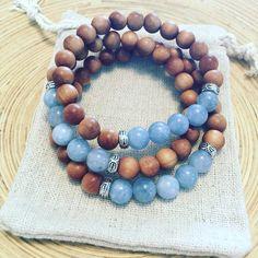 OCEAN AIR March Birthstone, Fragrant Sandalwood Aquamarine Stacking Bracelet, March Birthday Gift, Crystal Bracelet, Boho Bracelet, Beachy