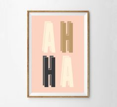 AH HA - tirage d'Art minimaliste moderne coquine - pépinière sticker - Loft - rétro - Midcentury - Pastel - rose - crème de charbon de bois - dorée - pêche