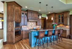 alder cabinets and walnut floors  | Advance Cabinetry- Custom Cabinetry - traditional - kitchen - - by ... no blue love the floor