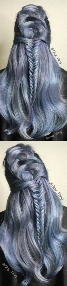 Collage of Grayish Blue Hair with Fishtail Braid♡ #Hairstyle #Dyed_Hair #Beauty