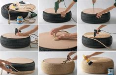 DIY garden furniture projects pictures tutorial car tire stool