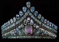 IMPERIAL RUSSIAN DIAMOND TIARA~ Magnificent nuptial crown made for Empress Elizaveta Alexeievna, née Louise of Baden, consort of Tsar Alexander I, Paul I's son. Paul's famous pink diamond is the center focus of this diamond crown.Empress Elizaveta. The tiara was made for her by St Petersburg jeweler, Jacob David Duval ca. 1800.