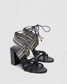 c03a58803248 Image 7 of TIED BLOCK HEEL SANDALS from Zara Women s Shoes Sandals