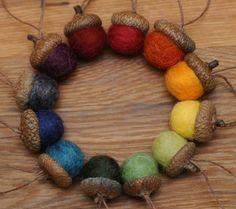 Rainbow Felted Acorn Ornaments Set