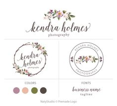 Wreath flower logo custom logo design premade logo by NatyStudio