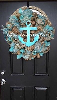 Burlap, Turquoise Aqua Anchor  Deco Mesh Wreath, Beach Wreath, Summer Wreath