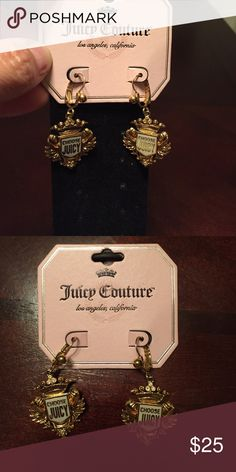 Juicy Couture earrings. Juicy Couture earrings. Gold. New with tag. Earrings read: CHOOSE JUICY. With crown and on it has tiny rhinestones. Super nice! Juicy Couture Jewelry Earrings