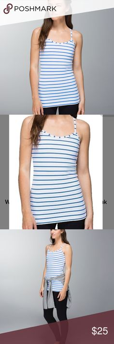Lulu lemon Deauville Stripe Pipe Dream Blue White Deauville Stripe Pipe Dream Blue White   Key features: cottony-soft Luon fabric is engineered for serious stretch and recovery Luon fabric is sweat-wicking, four-way stretch and breathable lightweight Mesh in the sweat-wicking lining helps keep you cool and dry in class thin straps and racerback cut allow you to twist with ease designed with pockets for removable cups (cups not included) lululemon athletica Tops