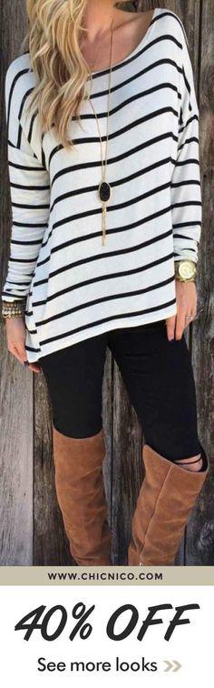 $24.99. Fashion Stripe Top Long Sleeve Shirt