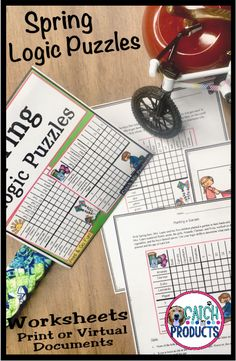 Teach Spring w/ fun logic puzzles & narrative writing activities in print or Google Doc worksheets for kids. Inference core standard instruction in cute challenges for hard critical thinking & reasoning whole small group classroom middle school or home school distance learning w/ digital. Difficult problem solving brain teasers with answers, easy print for 4th, 5th grade or 6th are awesome on Teachers Pay Teachers. (Level 4 5 6) #TpT #iteachtoo #education #teachers #iteach Gifted and… Brainstorming Activities, Teaching Activities, Teaching Resources, Teaching Ideas, Upper Elementary Resources, Classroom Resources, Puzzles For Kids, Worksheets For Kids, First Year Teachers