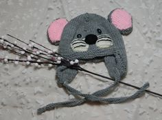 Mouse Hat HA1  Medium (38cm circumference approx./6 - 12 months) by HeritageBabyCrafts on Etsy