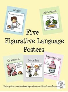 "FREE LANGUAGE ARTS LESSON - ""5 Figurative Language Posters"" - Go to The Best of Teacher Entrepreneurs for this and hundreds of free lessons.    #FreeLesson   #TeachersPayTeachers   #TPT   #LanguageArts  http://thebestofteacherentrepreneurs.blogspot.com/2011/11/free-language-arts-lesson-5-figurative.html"