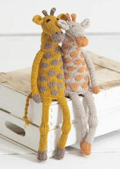 Part 3 of the free Sirdar Noah's Ark knit-along patterns is for Gerry & Georgie. They are tall, long necked Giraffes and are knitted in Cotton DK, but you don't need much yarn so any DK should be suitable. http://www.cpu-enterprises.com/sirdar/main.htm
