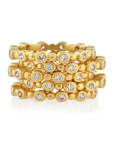 Set of 5 Stacked Rings, Golden - Last Call by Neiman Marcus