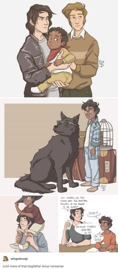 Harry and Sirius Black - dogfather, POC Harry Potter