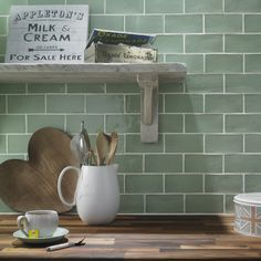My worktop and wall colour, love the distressed shelves!!