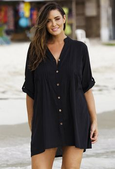I really want this post baby to nurse and lounge in!!!!  Black Cotton Big Shirt With Crochet