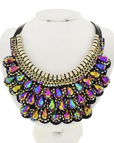 NEW: Color Glass and Black Fabric Necklace SHOP: