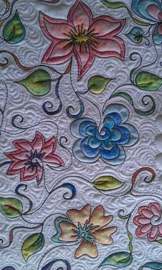 Deborah Louie Domestic Machine Quilting Tutor. Looks like it was quilted then colored.