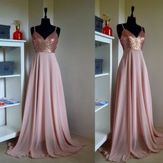 Charming Chiffon With Top Sequin Rose Gold Bridesmaid Dress, Wedding Reception Dress, Sequin Pink Prom Dress, Sequin Bridesmaid Dress Bridesmaid Dresses rose gold bridesmaid dresses Gold Bridesmaids, Sequin Bridesmaid Dresses, Gold Sparkle Bridesmaid Dress, Kids Bridesmaid Dress, Vestido Rose Gold, Prom Dress Rose Gold, Pink And Gold Dress, Rose Dress, Maid Of Honour Dresses