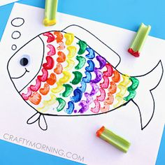 These fish crafts for kids will open up a sea of possibilities. Fish art projects make some of the best ocean crafts for kids. The Rainbow Fish, Rainbow Fish Crafts, Ocean Crafts, Rainbow Fish Template, Rainbow Fish Activities, Animal Crafts For Kids, Toddler Crafts, Arts And Crafts Movement, Preschool Crafts