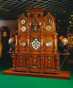 Astronomical and world time clock by Christian Gebhard, Germany, 1895. via www.timemuseum.com