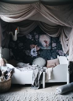 Hollies little place!✨ 🕊 this dreamy bed drape is finally up again and she Baby Bedroom, Home Bedroom, Girls Bedroom, Bed Drapes, Luxurious Bedrooms, Kid Spaces, Girl Room, Room Inspiration, Room Decor