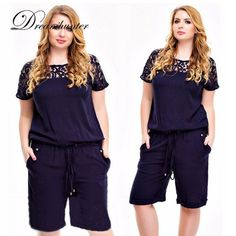 Women O neck large size loose playsuit short sleeve with pocket Casual Romper solid boho jumpsuit romper women overalls Rompers Women, Jumpsuits For Women, Blue Fashion, Fashion Pants, Short Playsuit, Type Of Pants, Pants Style, Overalls Women, Plus Size Fashion