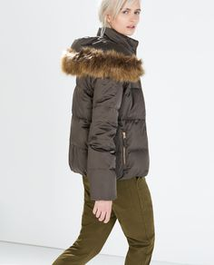 Image 3 of DOWN JACKET WITH FUR COLLAR from Zara