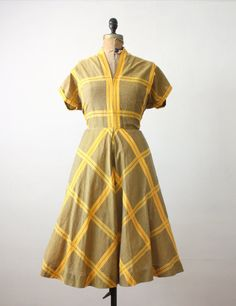 1950s dress  yellow plaid party dress by Thrush on Etsy, $145.00