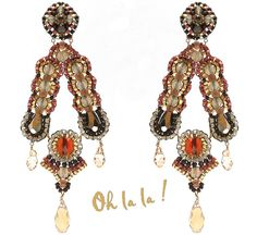 Swarovski Gold Fill, Statement Swarovski Crystal Earrings Beaded by Esther Marker