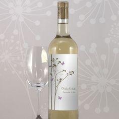 Personalized Romantic Butterfly Wedding Wine Bottle Label (Set of 8) from HotRef.com #Butterfly #wedding #winebottlelabel