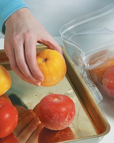 Tending to Tomatoes from Cuisine at Home eRecipes - freeze homegrown tomatoes until you're ready to cook them